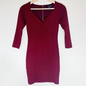 Forever 21 Small Maroon Textured Bodycon Dress